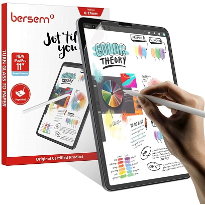 Bersem - (2 Pack) Paperfeel Screen Protector for iPad Air 10.9 & iPad Pro 11 (2020) / Clear/Matte Clear/Matte