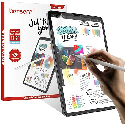 Bersem - (2 Pack) Paperfeel Screen Protector for iPad Pro 12.9 (2020) / Clear/Matte Clear/Matte