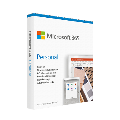 Microsoft - Microsoft 365 Personal Hebrew Subscription / 1 Year Medialess ללא צבע
