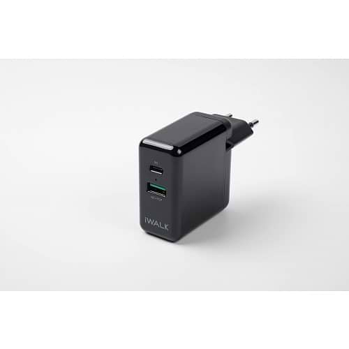 iWalk - Dual Charger with USB-C Cable / Black