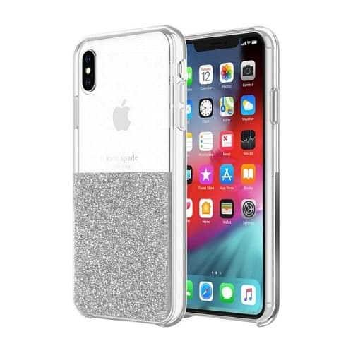 kate spade - New York Half Clear Crystal Case for iPhone Xs Max / Silver