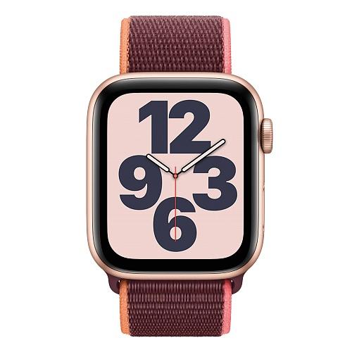 Apple - Apple Watch SE GPS + Cellular 44mm / Gold Aluminium Case with Plum Sport Loop