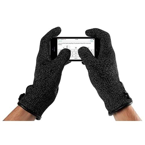 Mujjo Double Layered Touch Screen Gloves Black - S