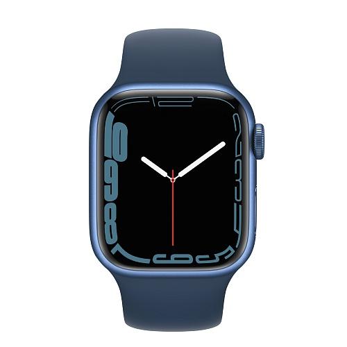 Apple - Apple Watch Series 7 GPS + Cellular 41mm / Blue Aluminium Case / Abyss Blue Sport Band