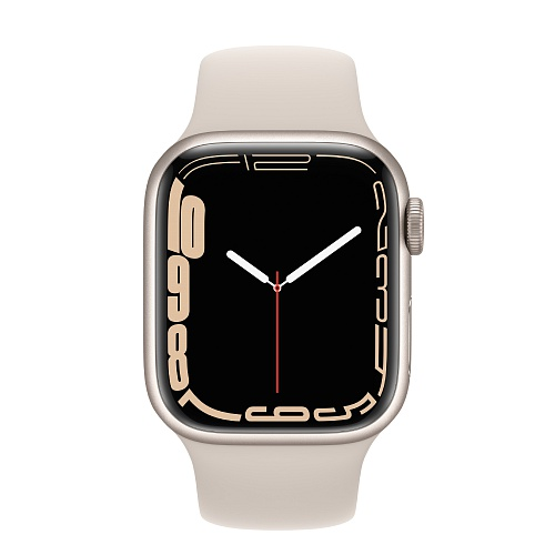 Apple - Apple Watch Series 7 GPS + Cellular 41mm / Starlight Aluminium Case / Starlight Sport Band