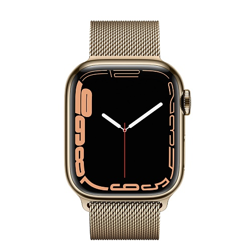 Apple - Apple Watch Series 7 GPS + Cellular 41mm / Gold Stainless Steel Case / Gold Milanese Loop
