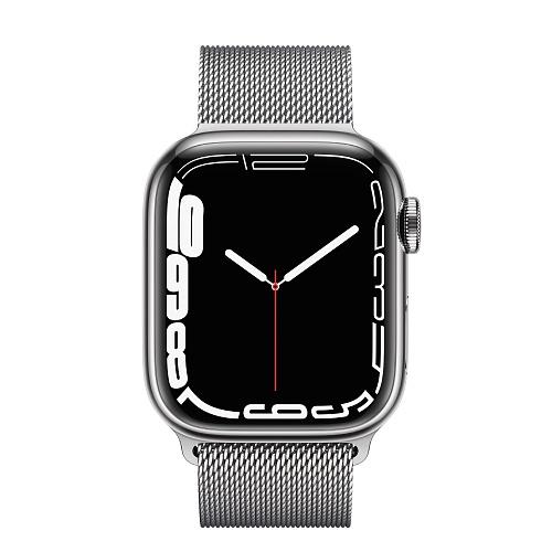 Apple - Apple Watch Series 7 GPS + Cellular 41mm / Silver Stainless Steel Case / Silver Milanese Loop