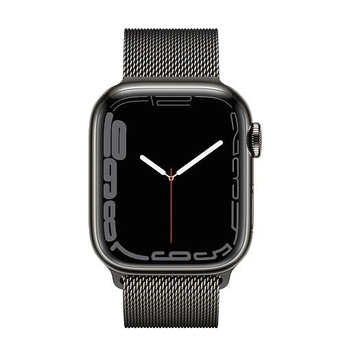 Apple - Apple Watch Series 7 GPS + Cellular 41mm / Graphite Stainless Steel Case / Graphite Milanese Loop