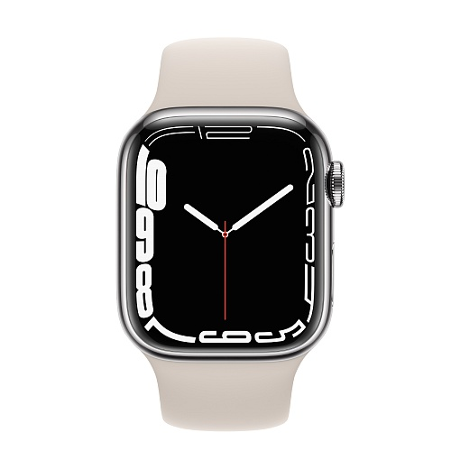 Apple - Apple Watch Series 7 GPS + Cellular 41mm / Silver Stainless Steel Case / Starlight Sport Band