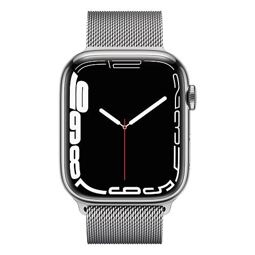 Apple - Apple Watch Series 7 GPS + Cellular 45mm / Silver Stainless Steel Case / Silver Milanese Loop