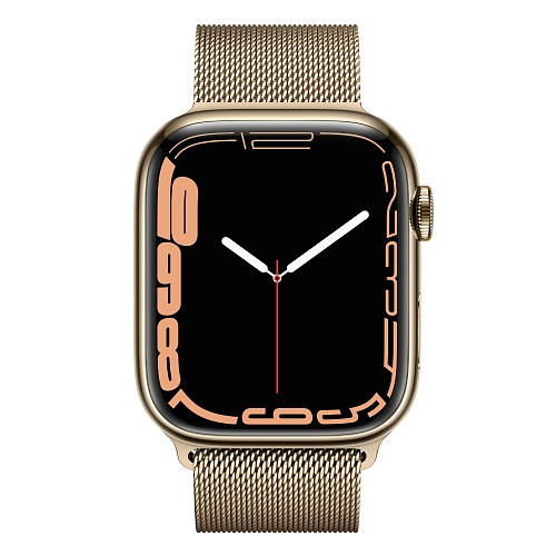 Apple - Apple Watch Series 7 GPS + Cellular 45mm / Gold Stainless Steel Case / Gold Milanese Loop