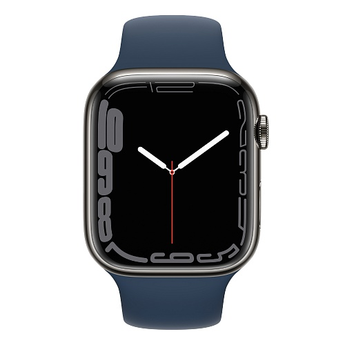 Apple - Apple Watch Series 7 GPS + Cellular 45mm / Graphite Stainless Steel Case / Abyss Blue Sport Band