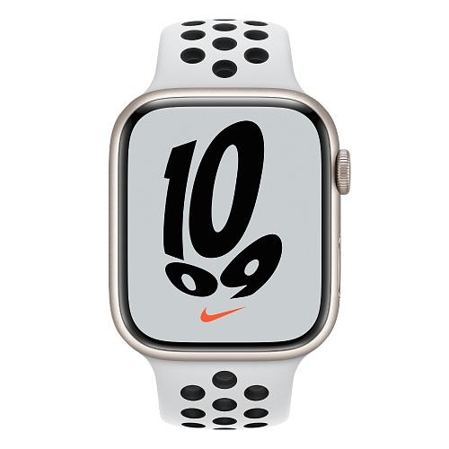 Apple - Apple Watch Nike Series 7 GPS + Cellular 45mm / Starlight Aluminium Case / Pure Platinum/Black Nike Sport Band