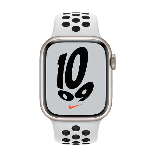 Apple - Apple Watch Nike Series 7 GPS 41mm / Starlight Aluminium Case / Pure Platinum/Black Nike Sport Band