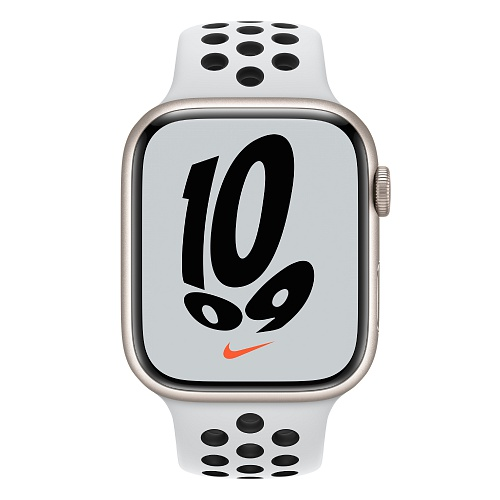 Apple - Apple Watch Nike Series 7 GPS 45mm / Starlight Aluminium Case / Pure Platinum/Black Nike Sport Band